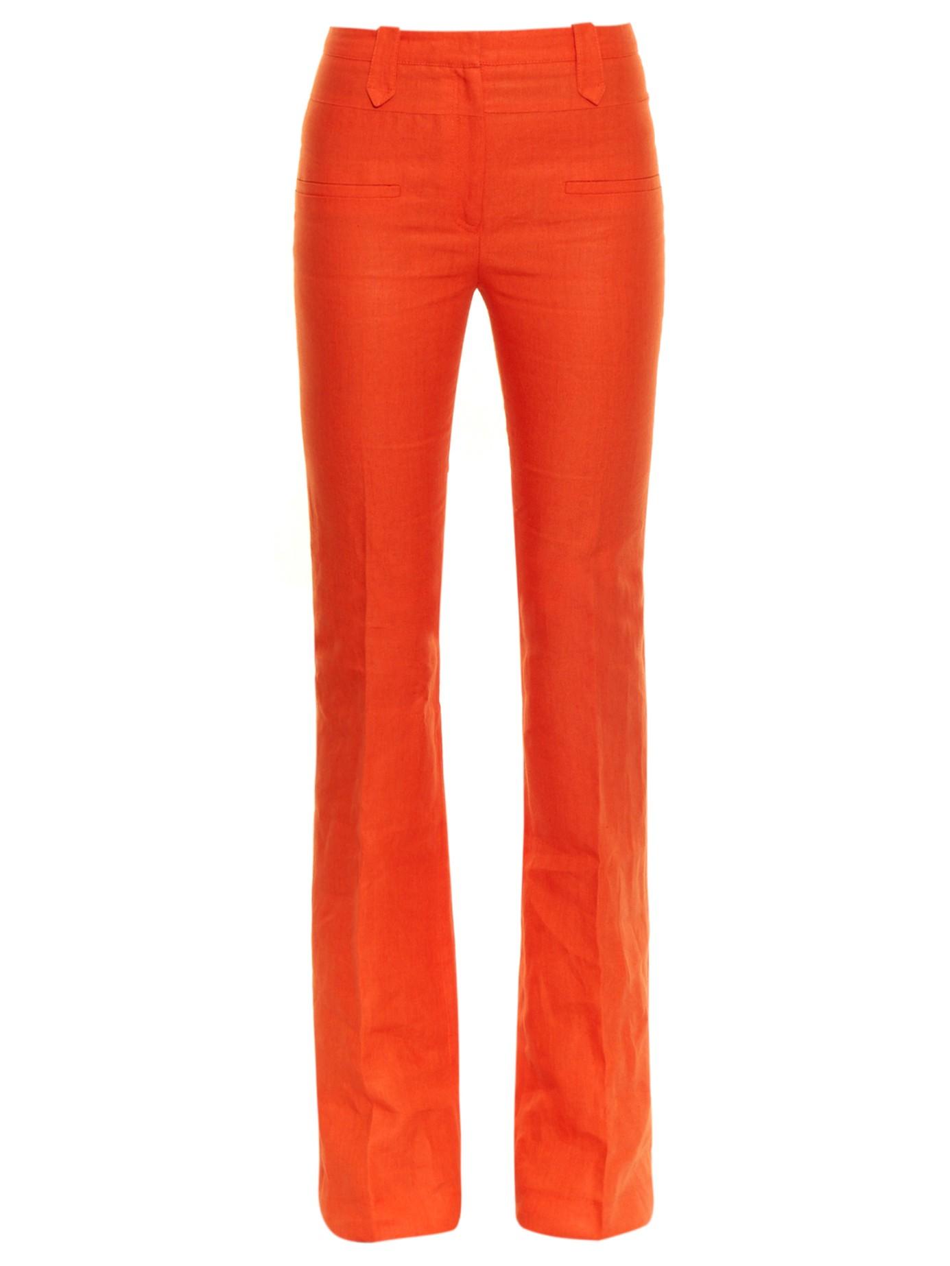 Altuzarra Serge Linen Flared Trousers In Orange Lyst