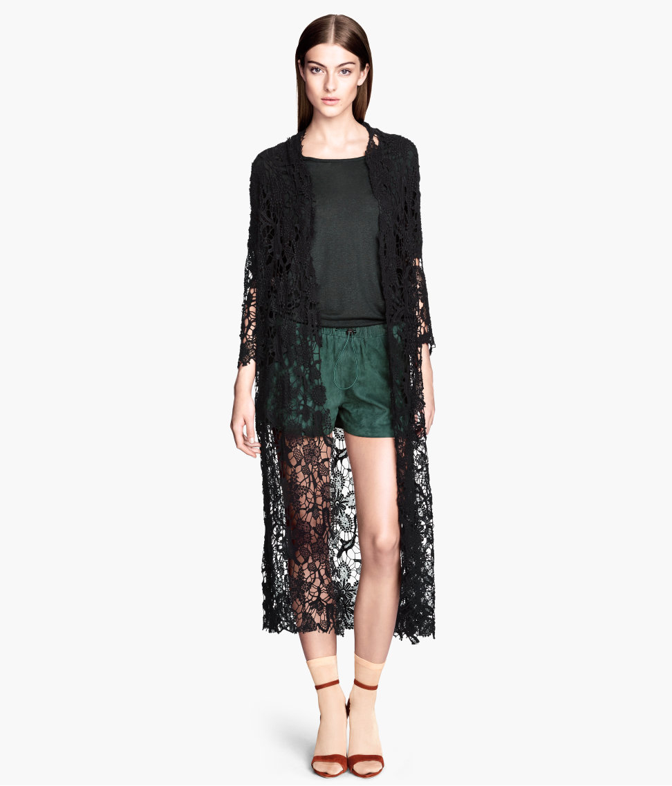 H&m Long Lace Cardigan in Black | Lyst