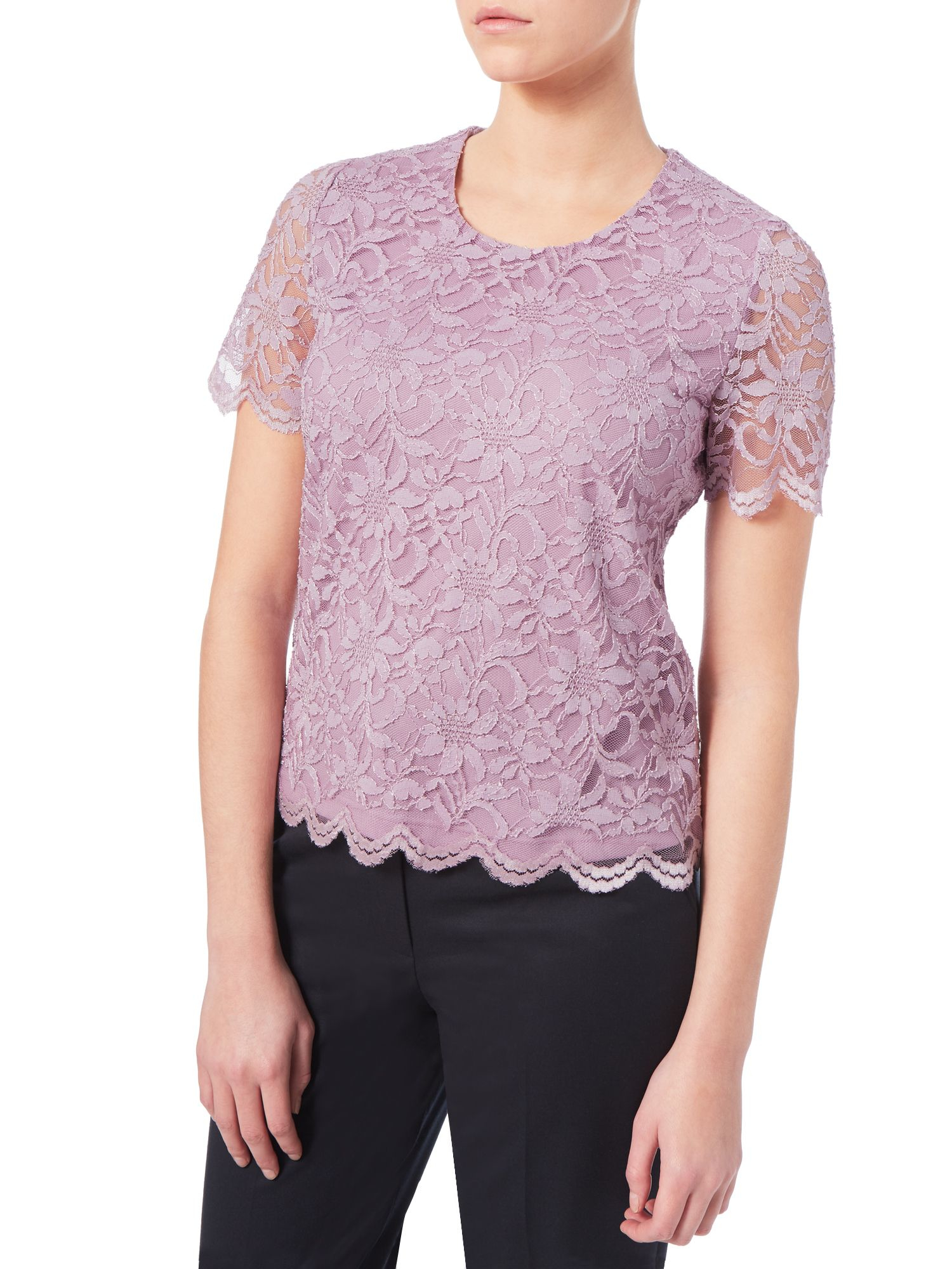 Eastex Lilac Lace Top In Purple