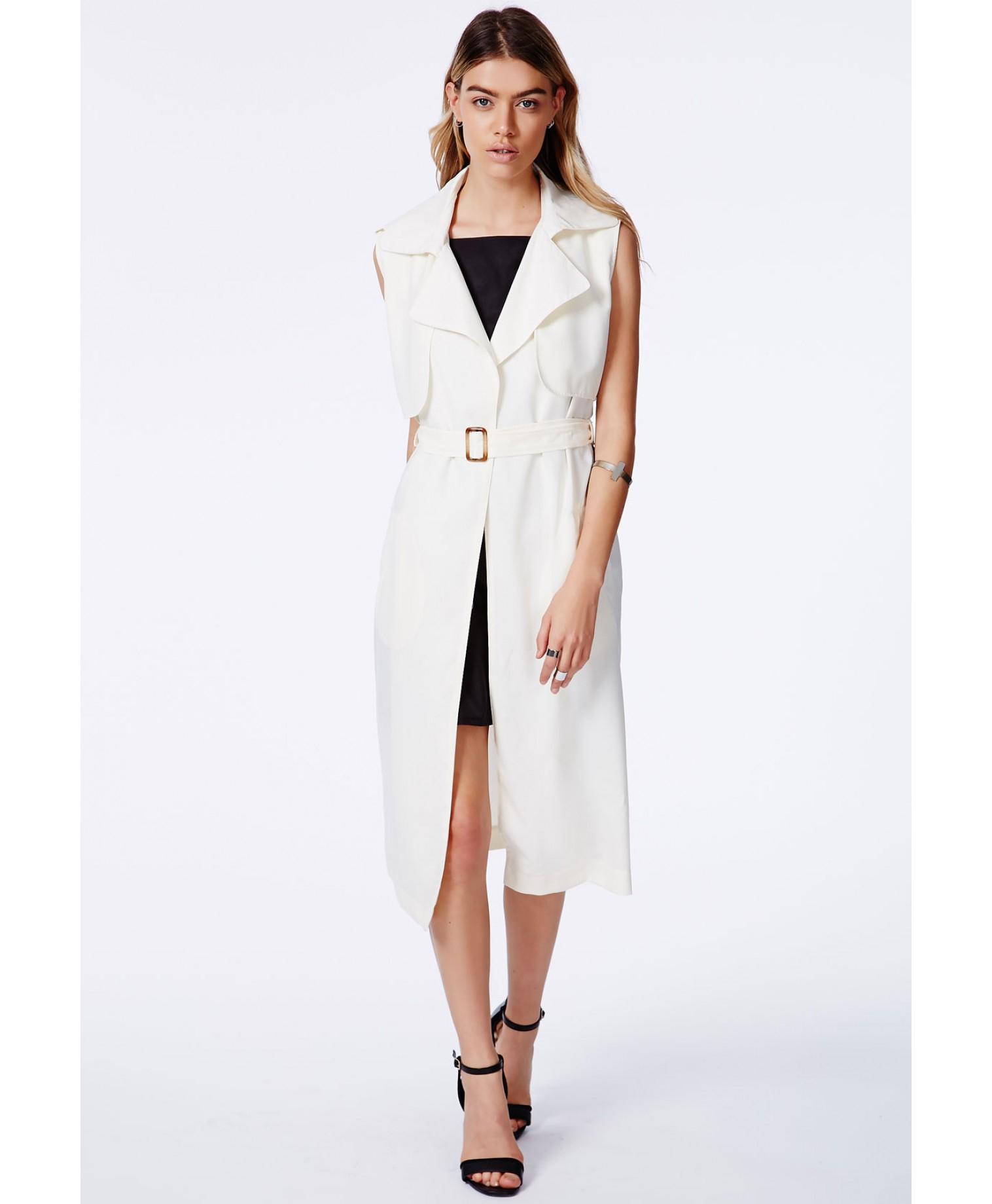 Missguided Arabela Cream Sleeveless Lightweight Trench Coat in ...