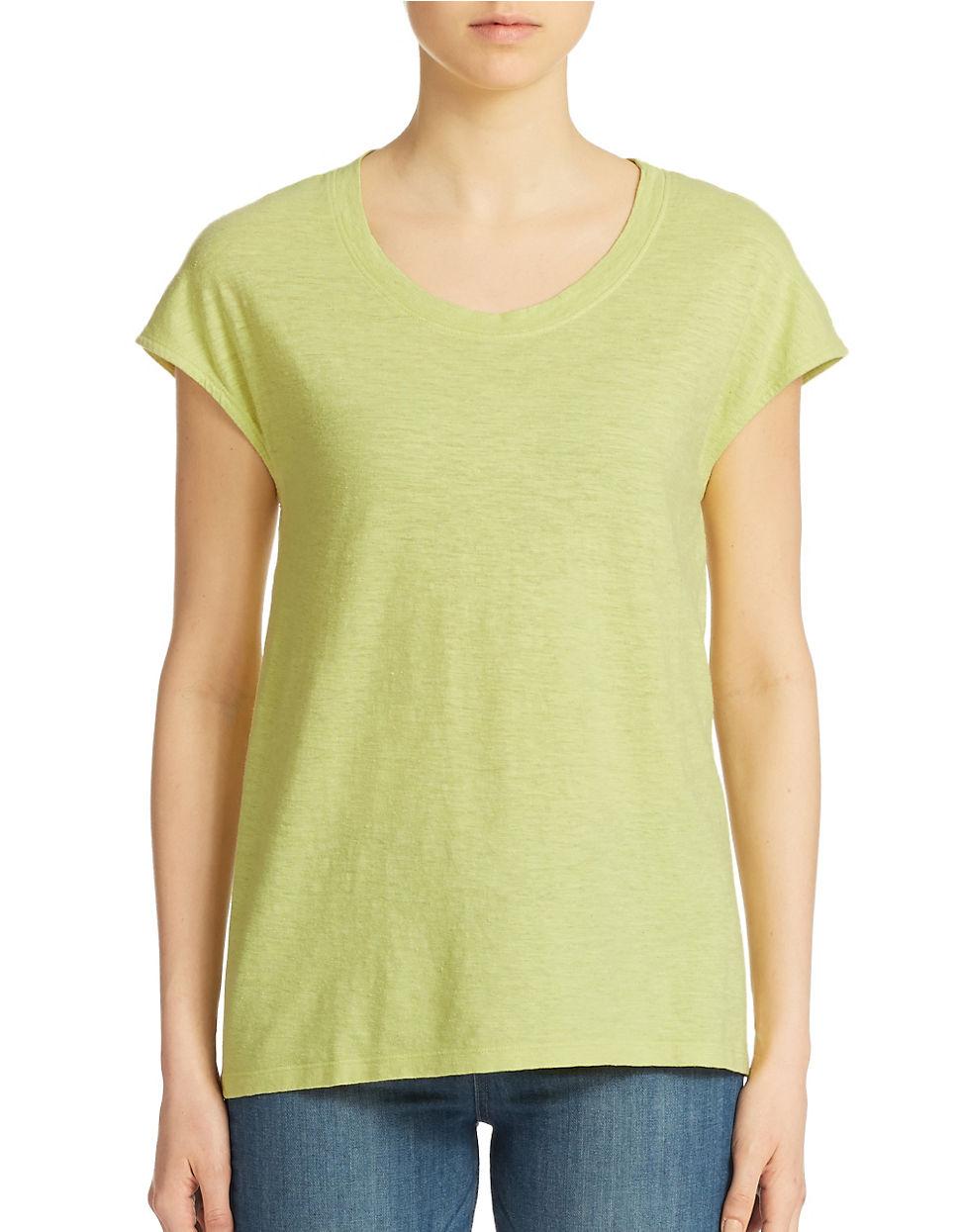 eileen fisher hemp and organic cotton t shirt in green