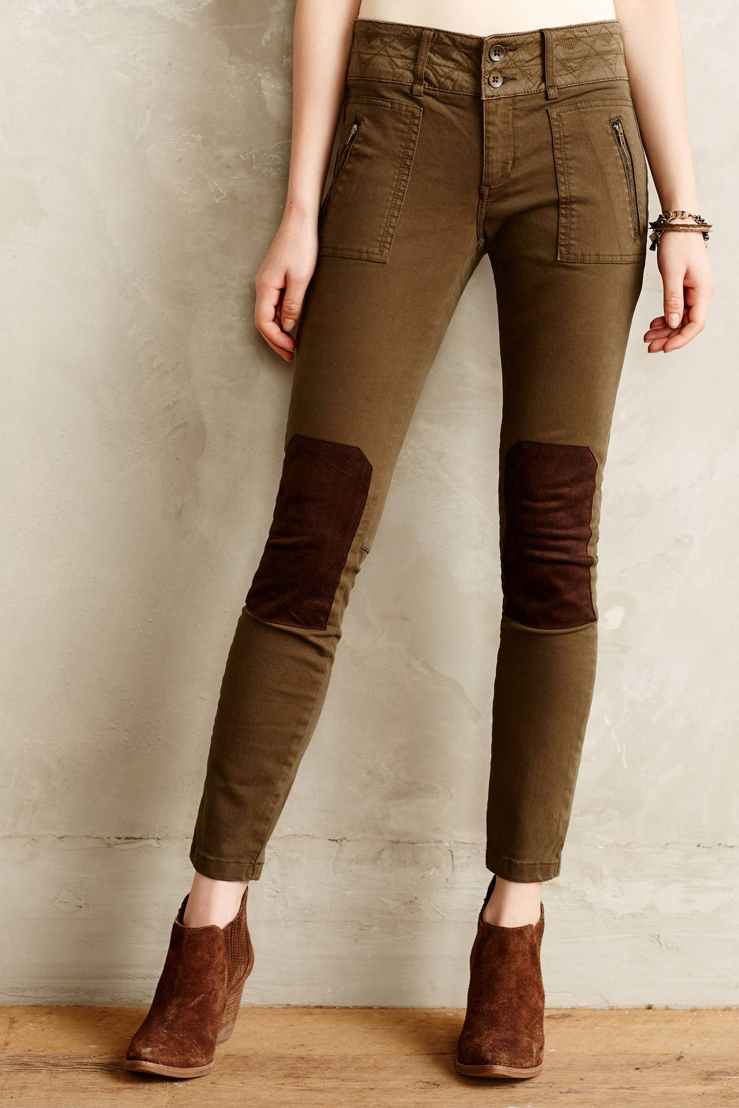 Pilcro Patched Moto Leggings in Brown (Washed Olive) | Lyst