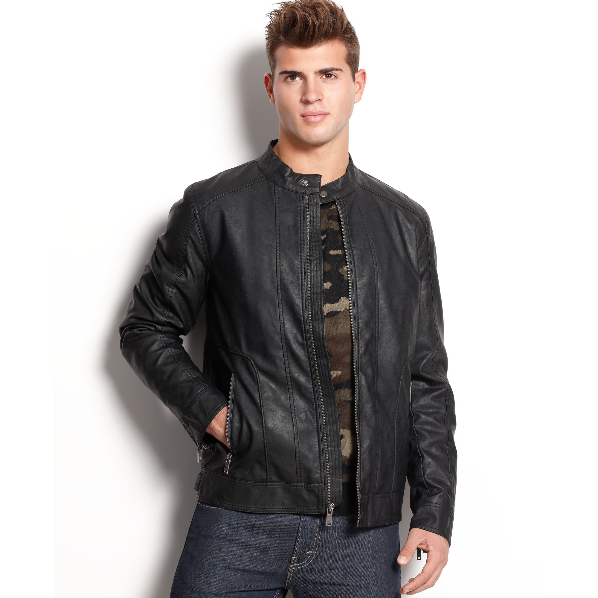 Lyst Guess Jacket Jordan Faux Leather Moto In Black For Men
