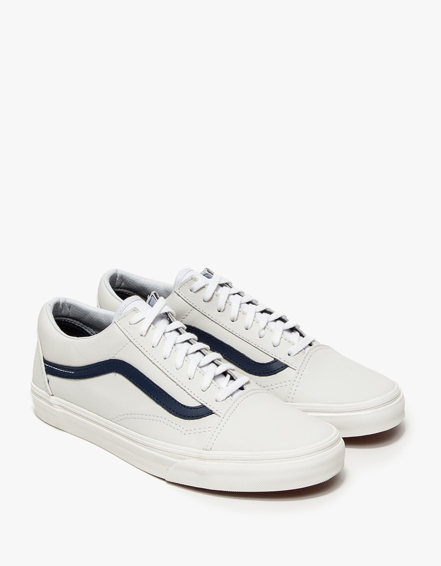 lyst vans old skool in matte leather in white for men. Black Bedroom Furniture Sets. Home Design Ideas