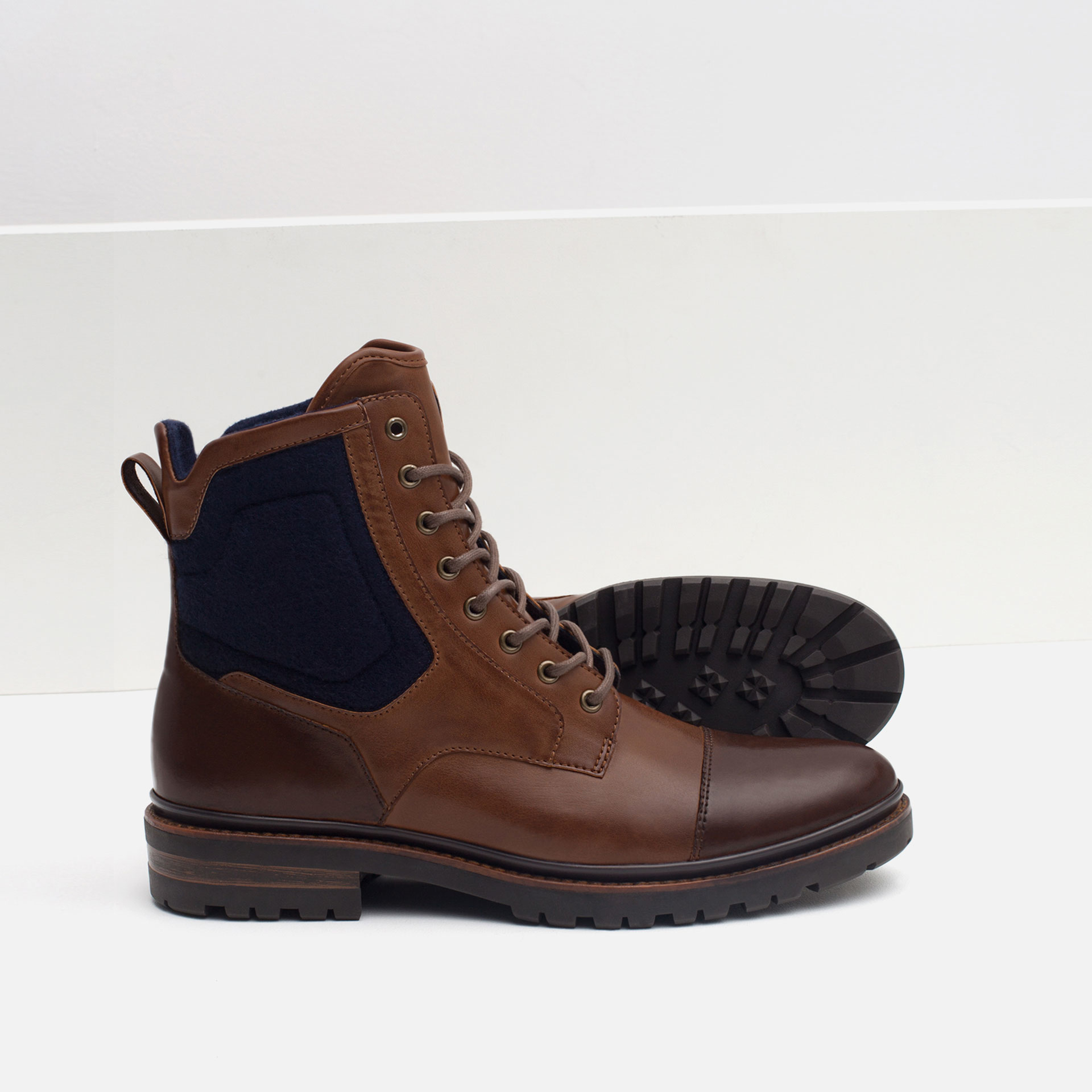 Zara Contrast Boots With Grip Sole In Brown For Men Lyst