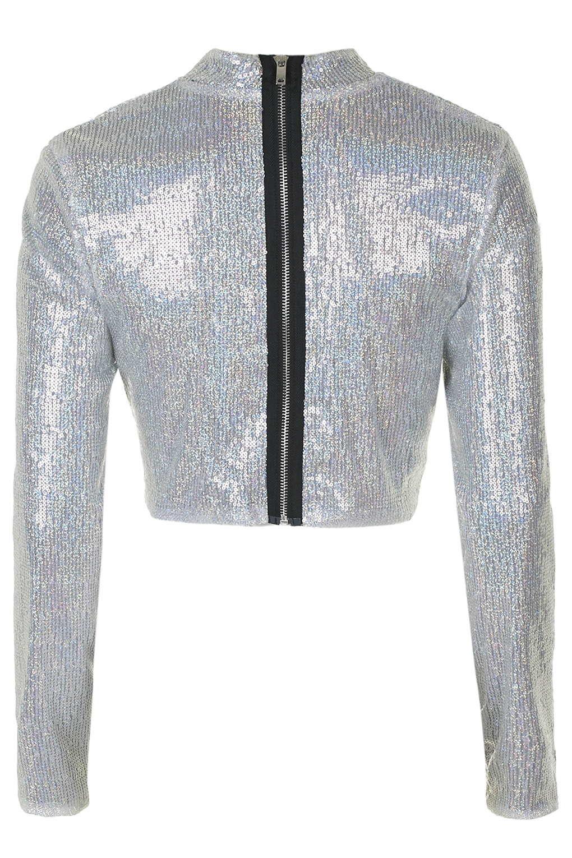 3fe07425402de3 TOPSHOP Silver Sequin Long Sleeve Crop Top By Jaded London in ...
