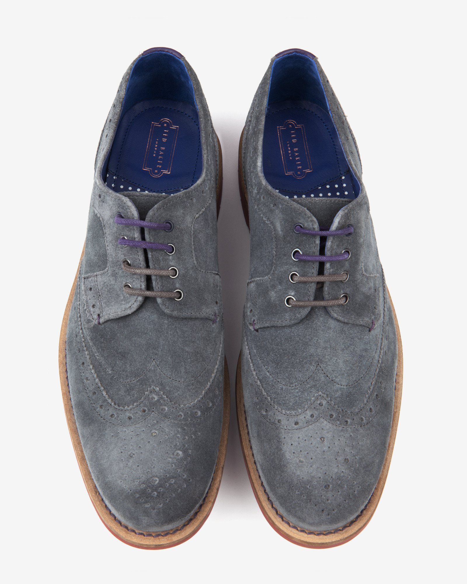 a9620f7286b8f7 Lyst - Ted Baker Suede Wingtip Brogues in Gray for Men