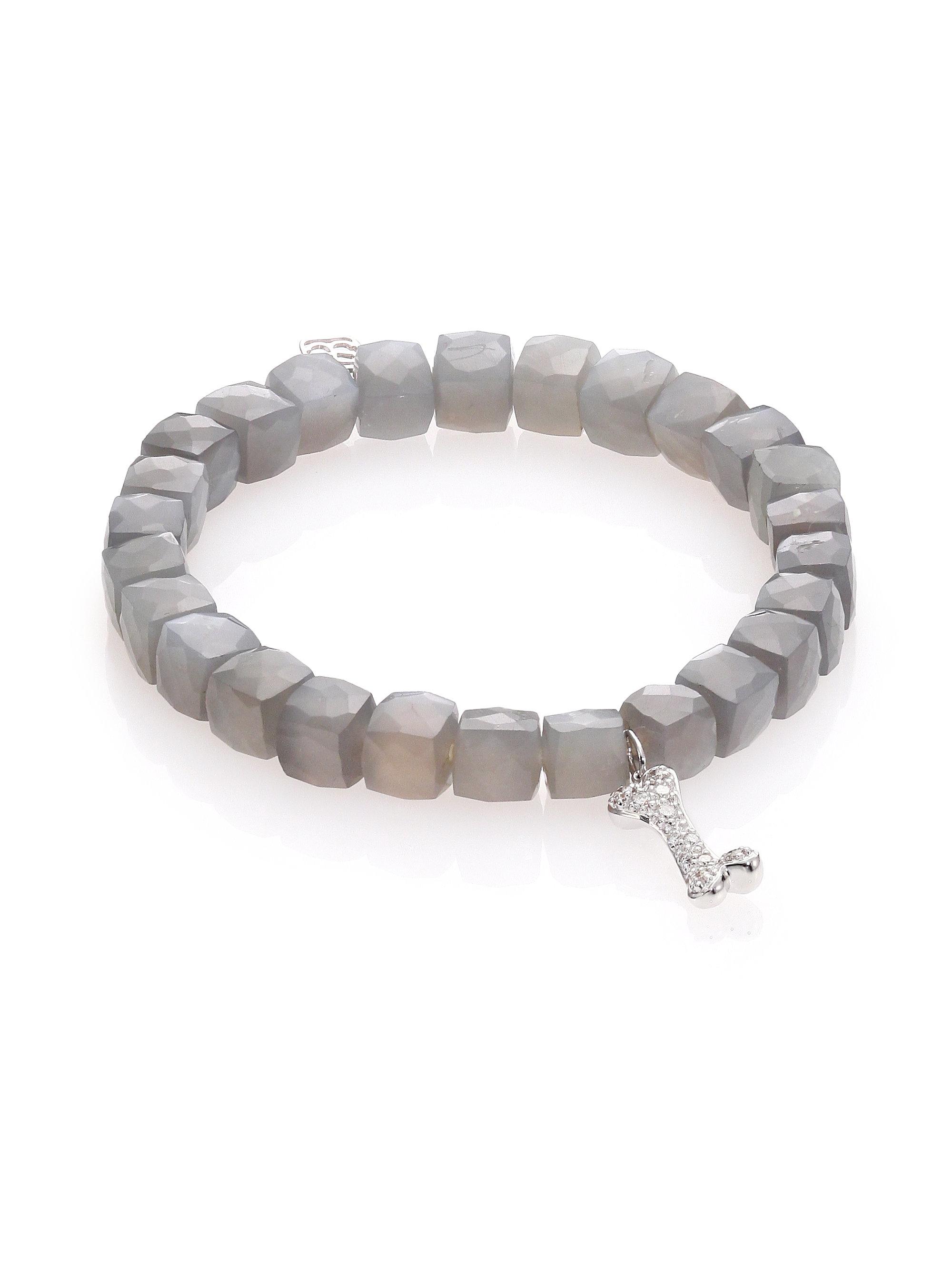 Sydney evan Pave Dog Bone Moonstone Bead Bracelet with Diamonds in