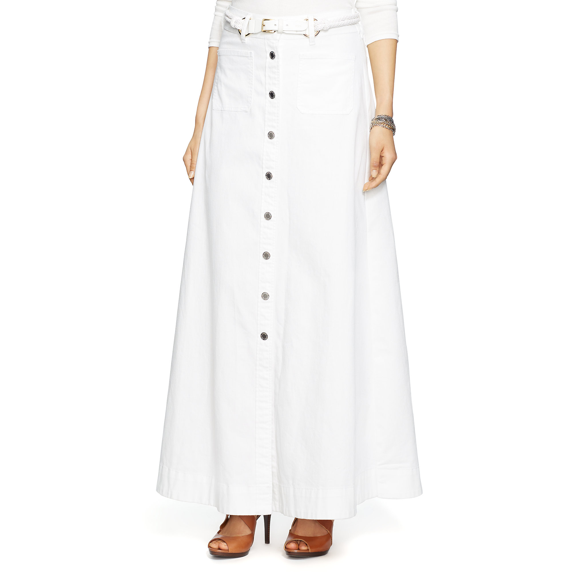 Pink pony Buttoned Denim A-line Skirt in White   Lyst