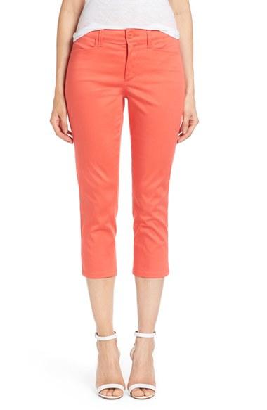 Nydj 'karen' Cotton Sateen Capri Pants in Orange | Lyst
