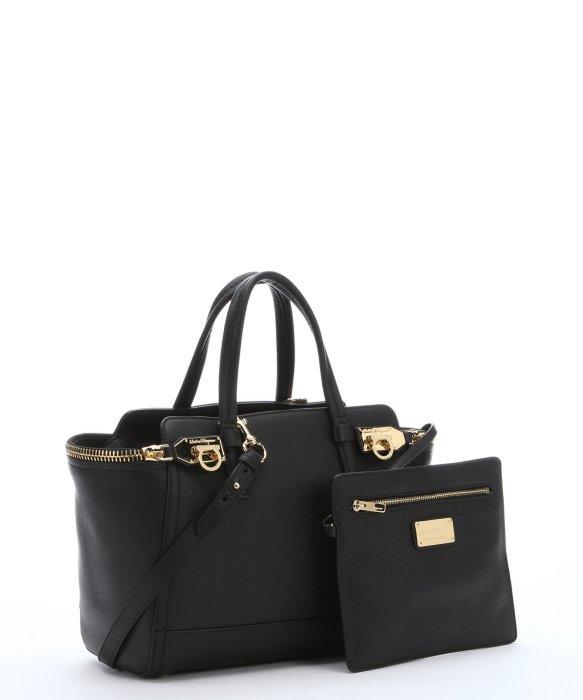 Ferragamo Black Calfskin Small 'Verve' Zipper Tote Bag in Black | Lyst