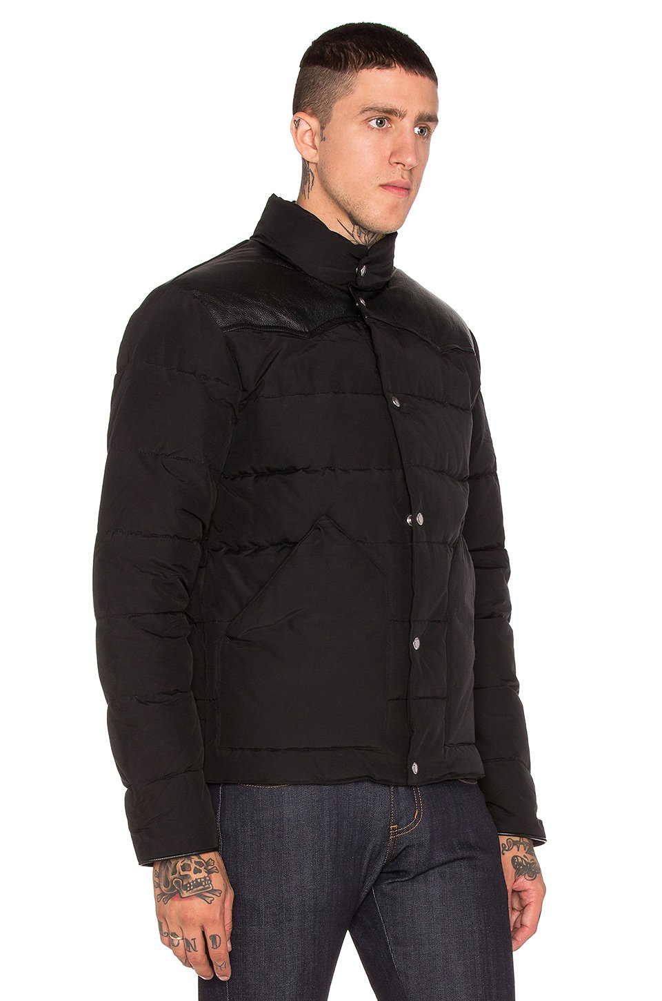 penfield black single men Spurr lightweight quilted jacket in black  hoosac iconic hooded down  mountain parka in black  caputo short sleeve graphic t-shirt in black.