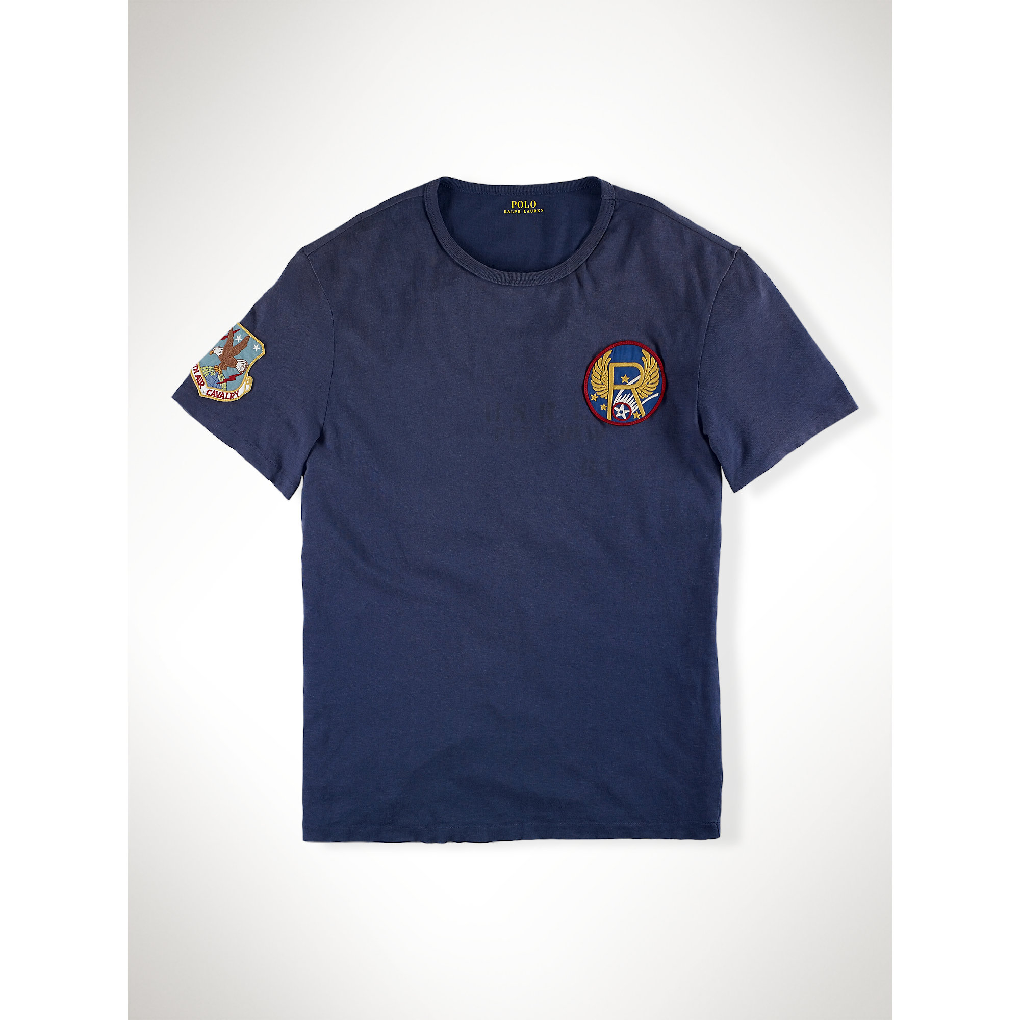 polo ralph lauren custom fit patch t shirt in blue for men