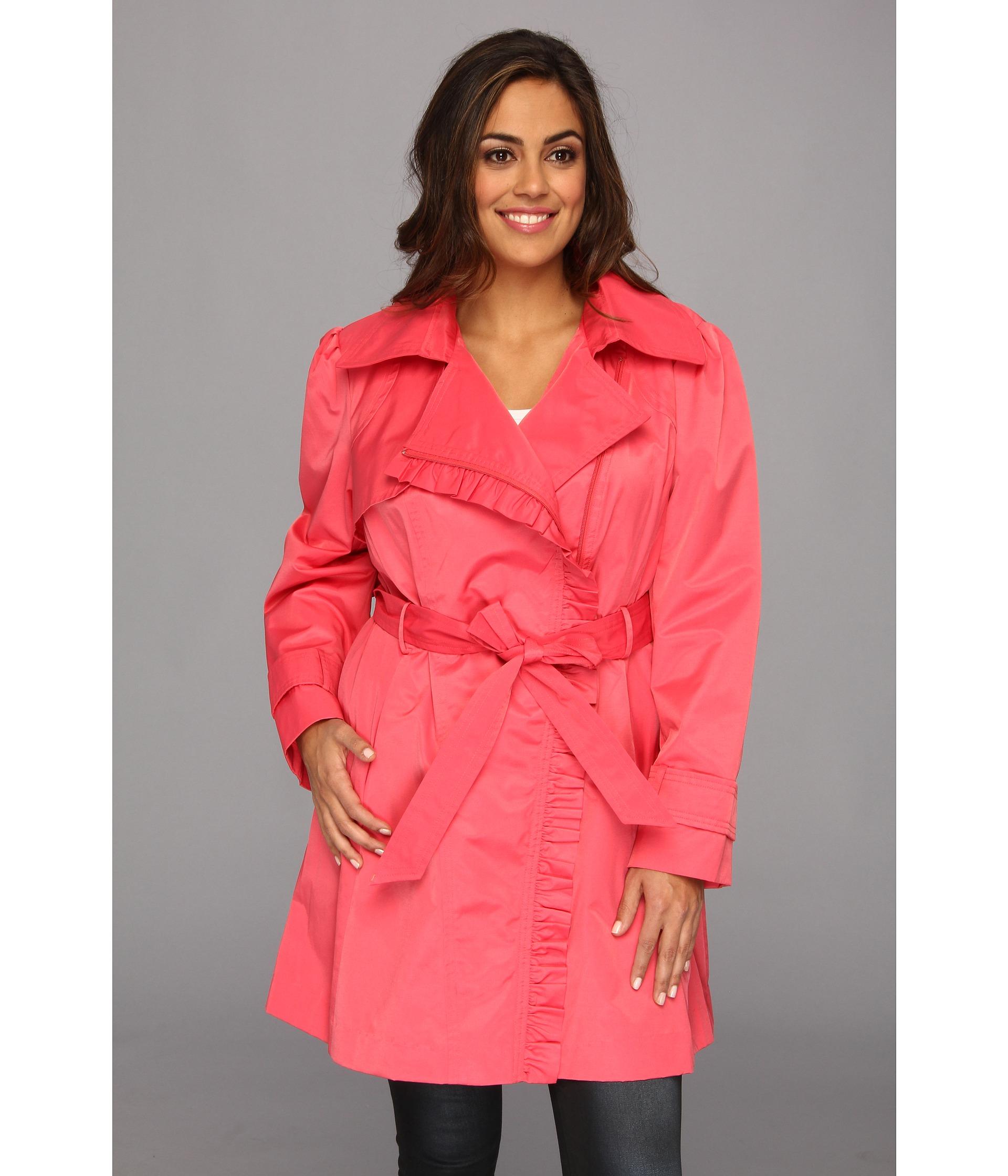 Jessica simpson Plus Size Ruffle Trim Belted Trench Coat in Orange ...