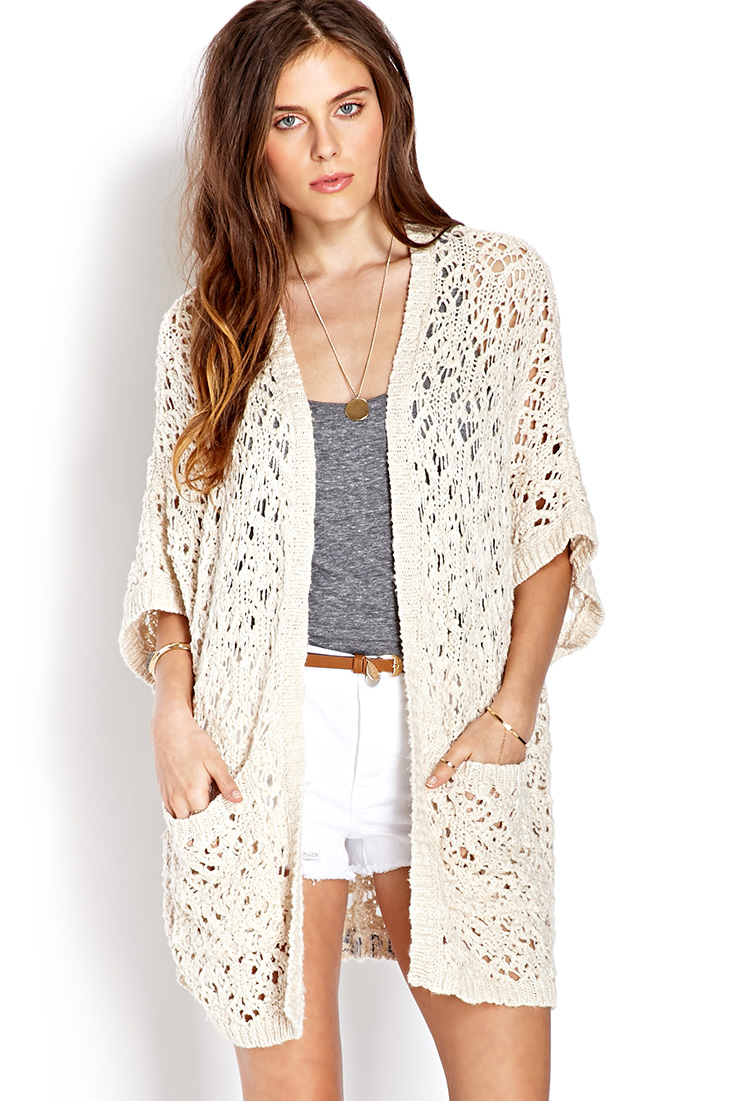 forever 21 everyday openknit cardigan in beige cream lyst