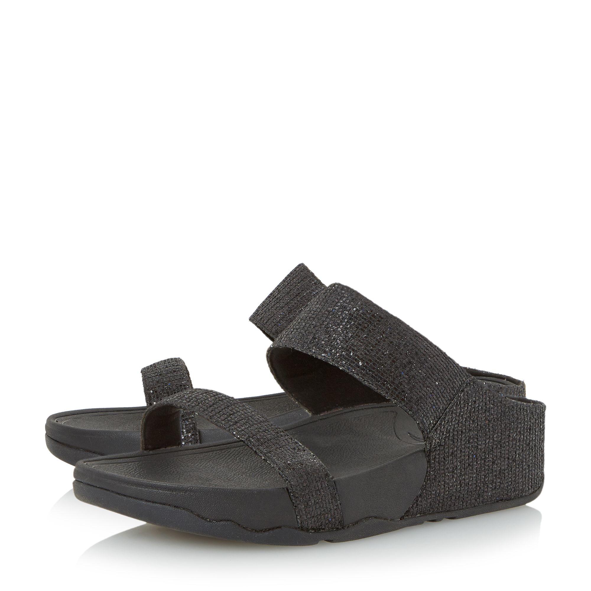 Fitflop Lulu Superglitz Wedge Sandals In Black Lyst