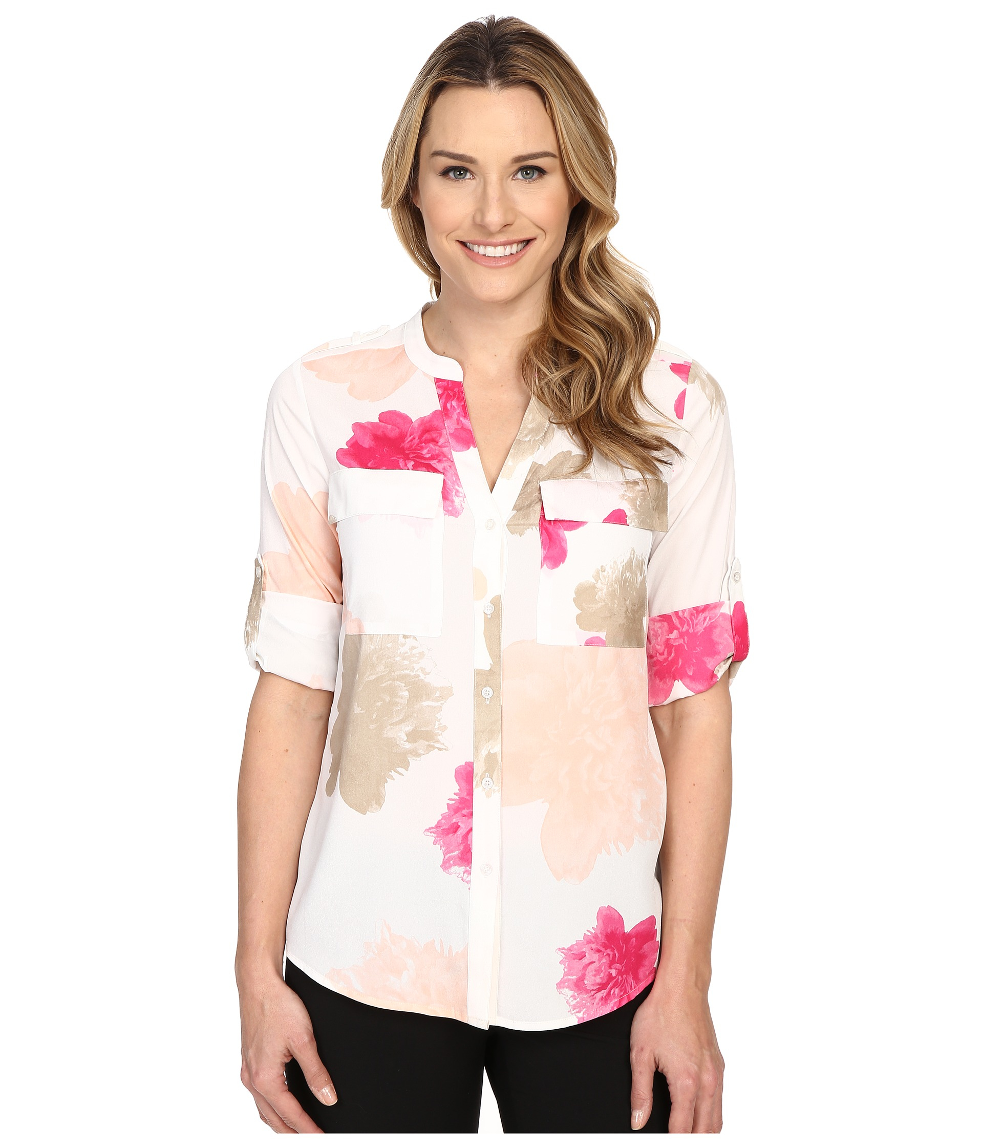 Lyst Calvin Klein Printed Roll Sleeve Blouse In Pink