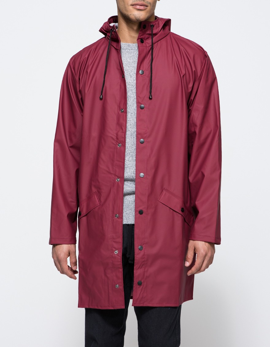 Rains Long Jacket In Bordeaux in Purple for Men | Lyst