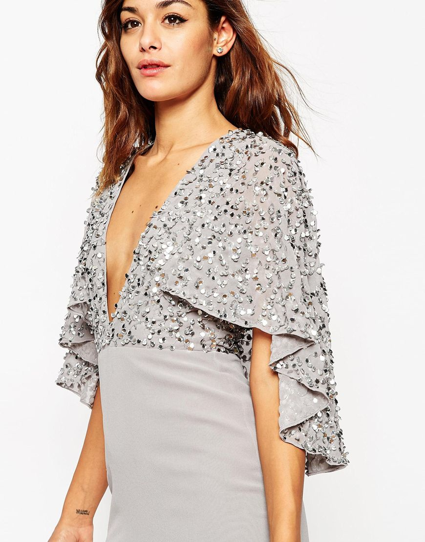 Asos Embellished Cape Back Mini Dress - Grey in Gray | Lyst