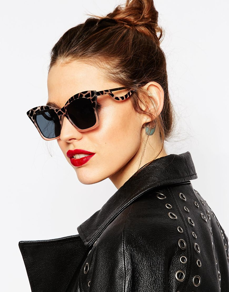 Square Cat Eye Sunglasses  asos square cat eye sunglasses in cp with drop arm in black lyst