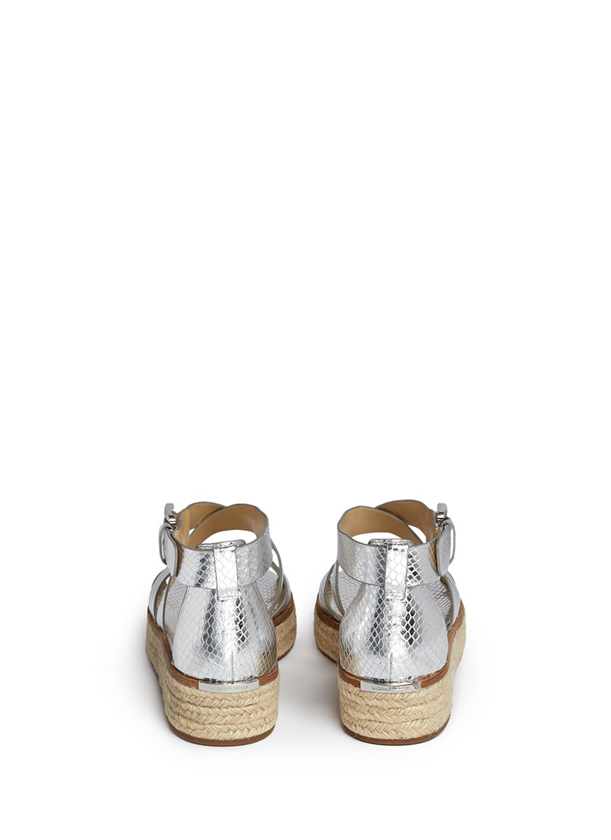 Michael Kors Darby Snakeskin Effect Metallic Leather