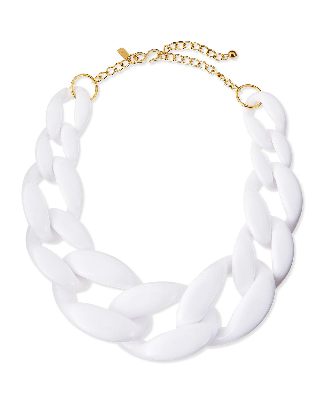 59671e8f88739 Lyst - Kenneth Jay Lane Enamel Link Necklace White in White