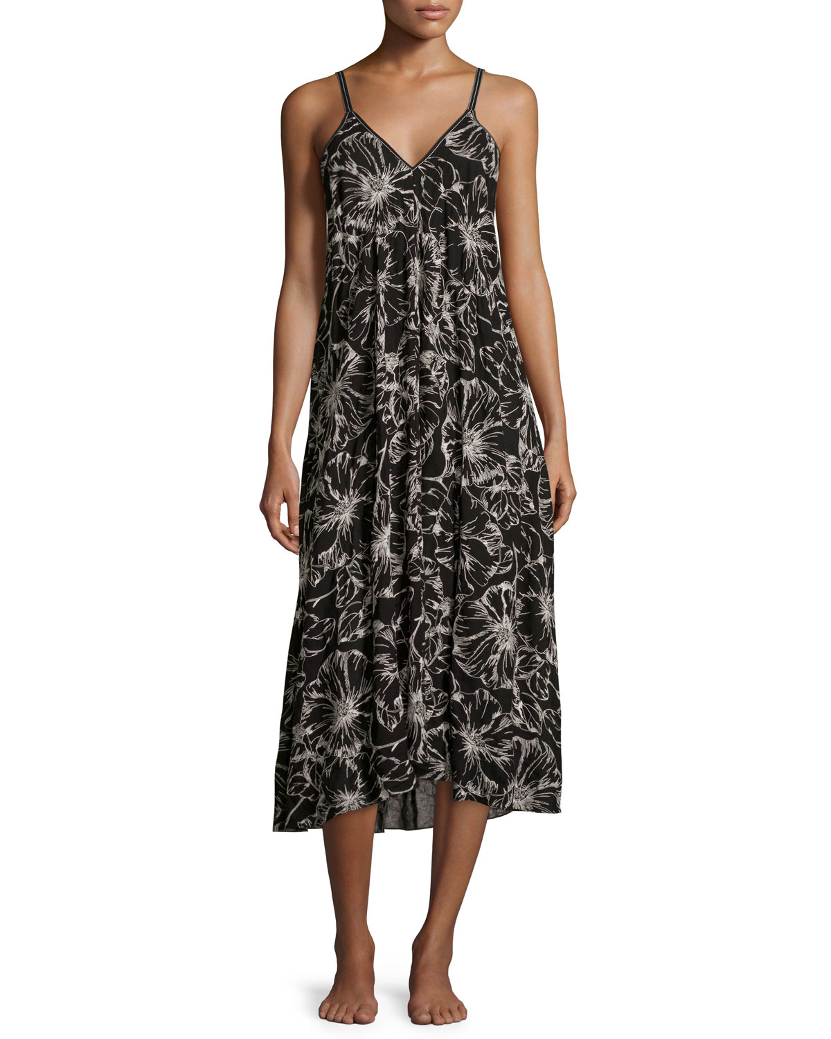 lyst oscar de la renta embroidered floral print long gown. Black Bedroom Furniture Sets. Home Design Ideas