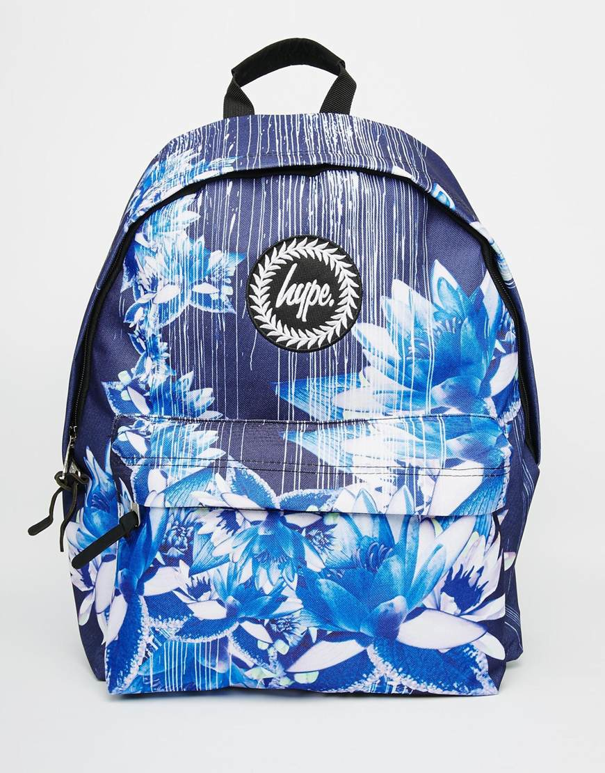 hype backpack in navy digital floral print in blue lyst