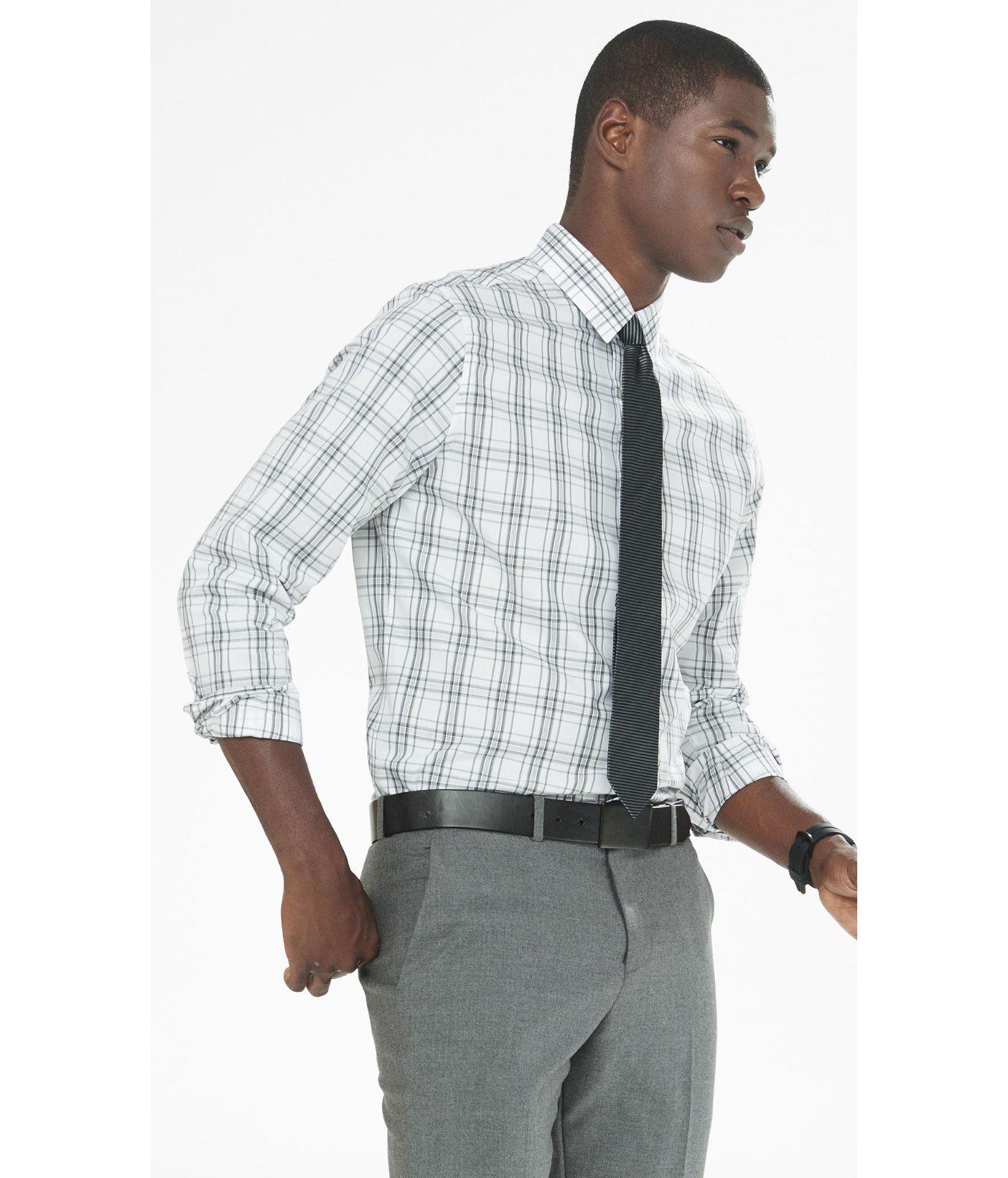 Express modern fit plaid dress shirt in gray for men lyst for Modern fit dress shirt