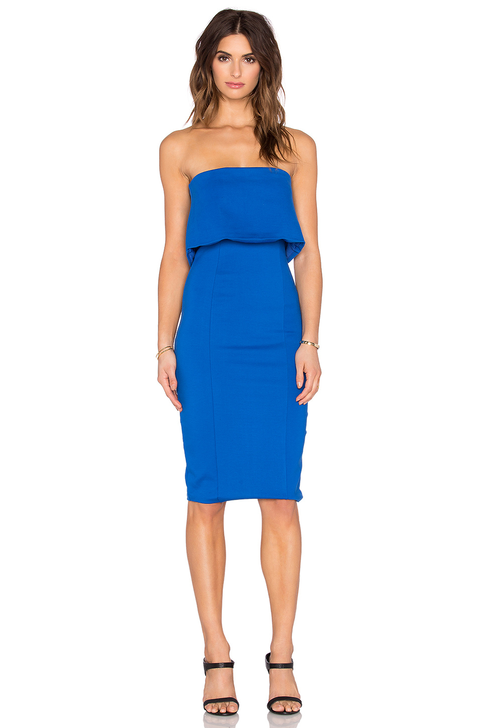 Lavish alice Layered Strapless Dress in Blue | Lyst