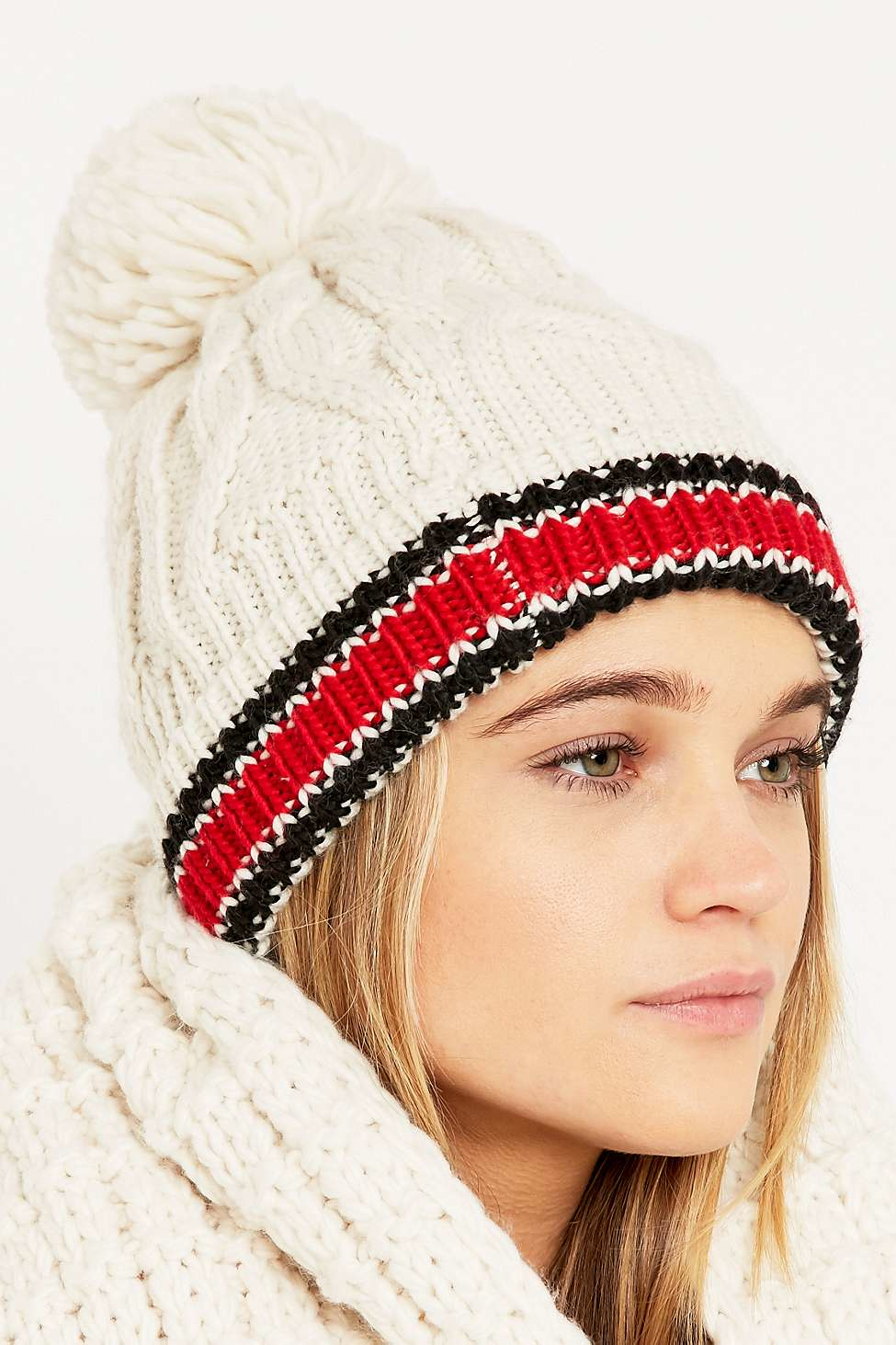 be532ac5aee Urban Outfitters Collegiate Stripe Cuff Ivory Pom Beanie in White - Lyst