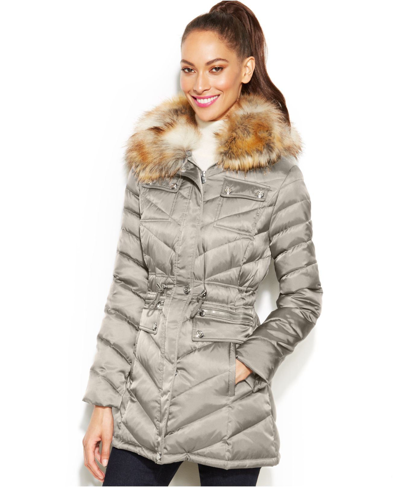Laundry faux fur hooded quilted coat