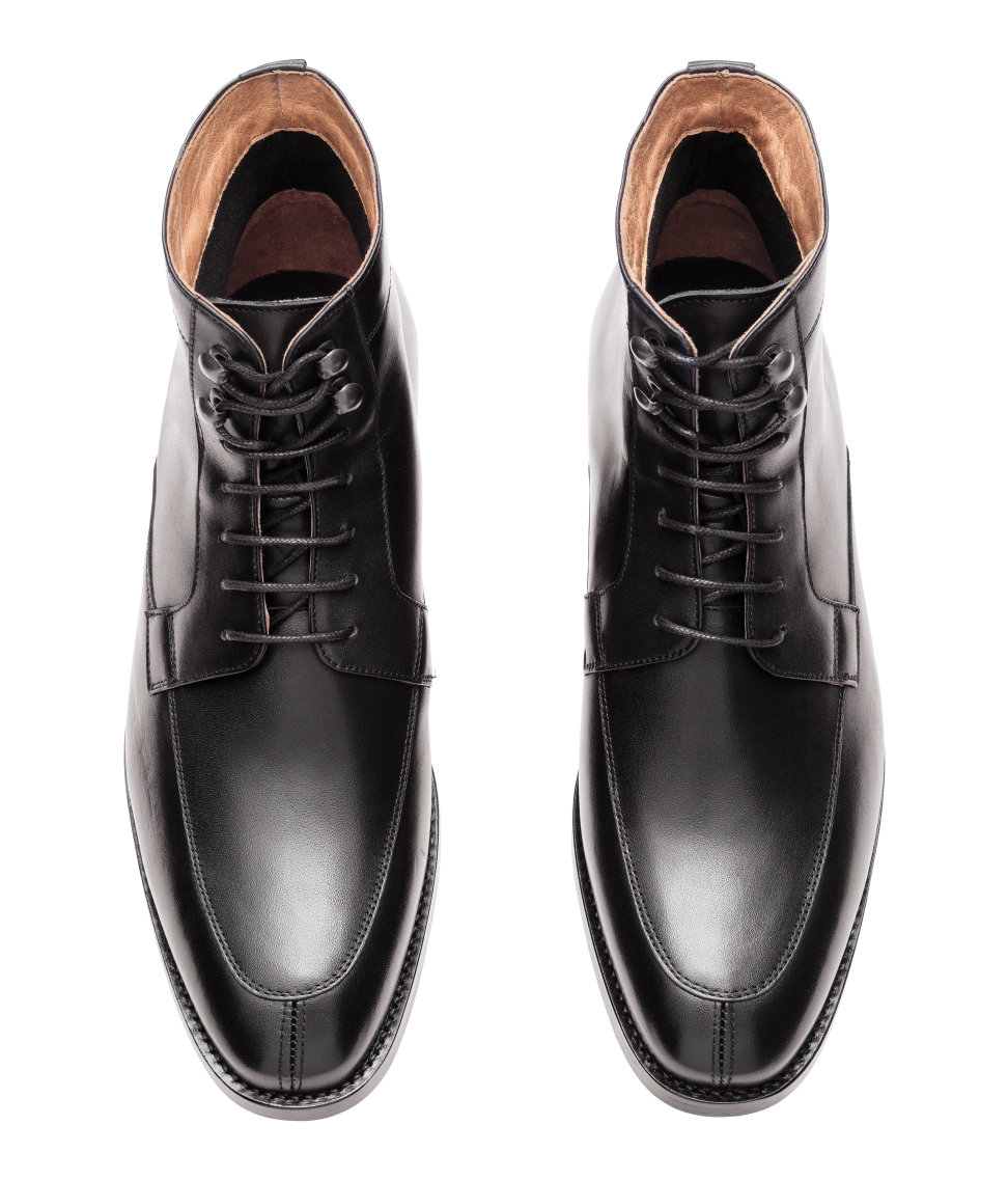 h m leather boots in black for lyst