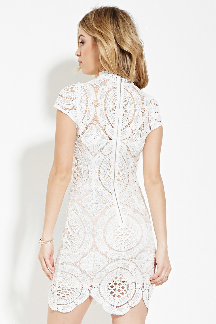 Forever 21 Crochet High-neck Dress in White | Lyst - photo #30