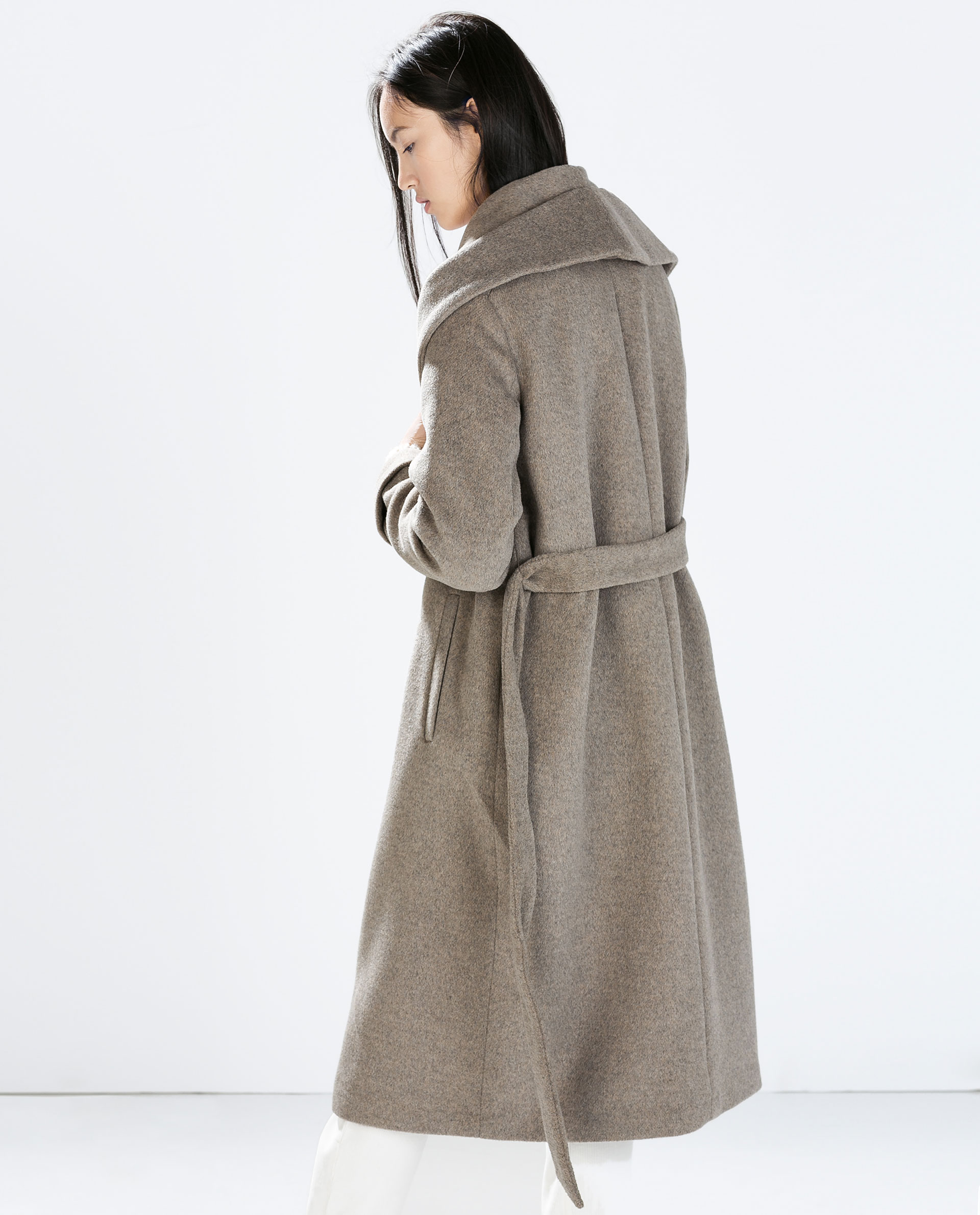 Zara Wool Coat With Belt in Brown | Lyst
