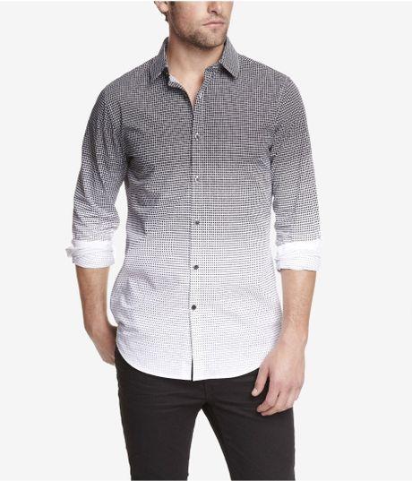 Express extra slim geo print shirt in black for men lyst for Extra slim dress shirt