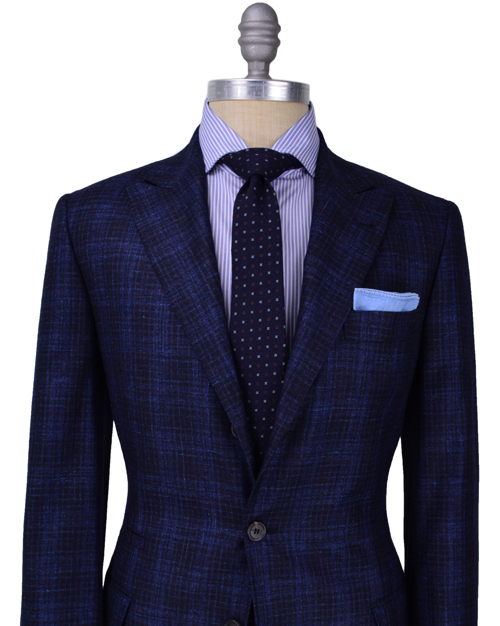 Mens Blue Checkered Dress Shirt