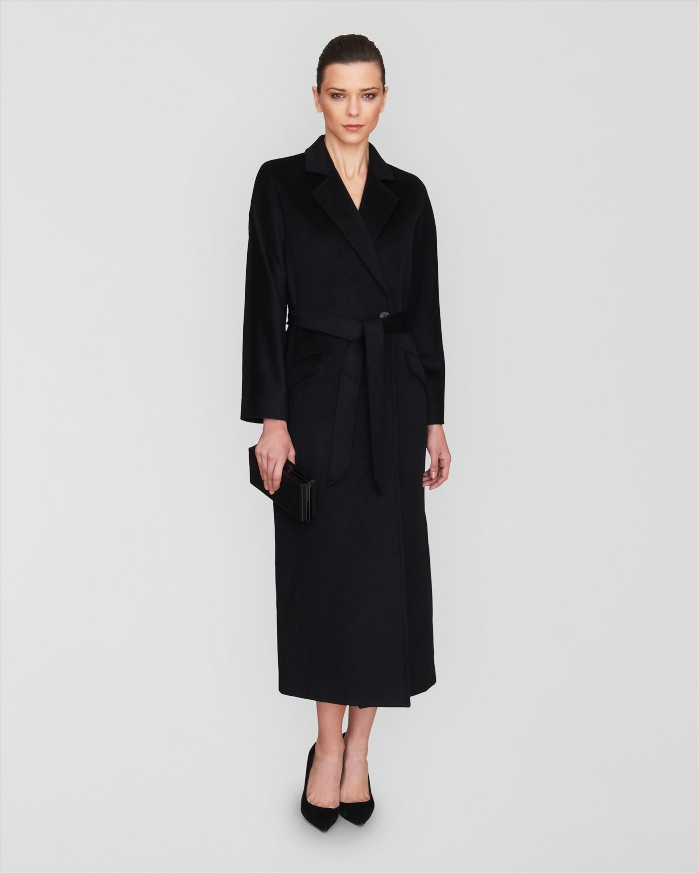 Jaeger Longline Belted Wool Coat in Black | Lyst