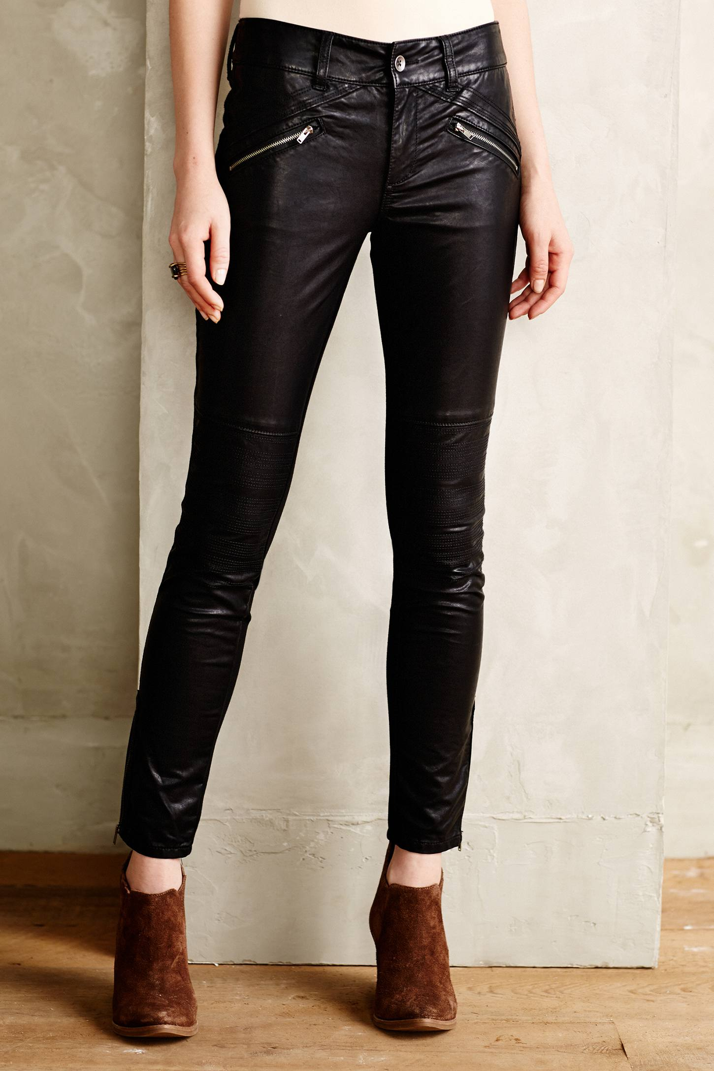 Pilcro Vegan Leather Moto Leggings in Black | Lyst