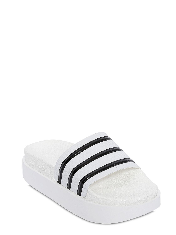 db05a26f6 Lyst - adidas Originals Adilette Bold Rubber Slides in White