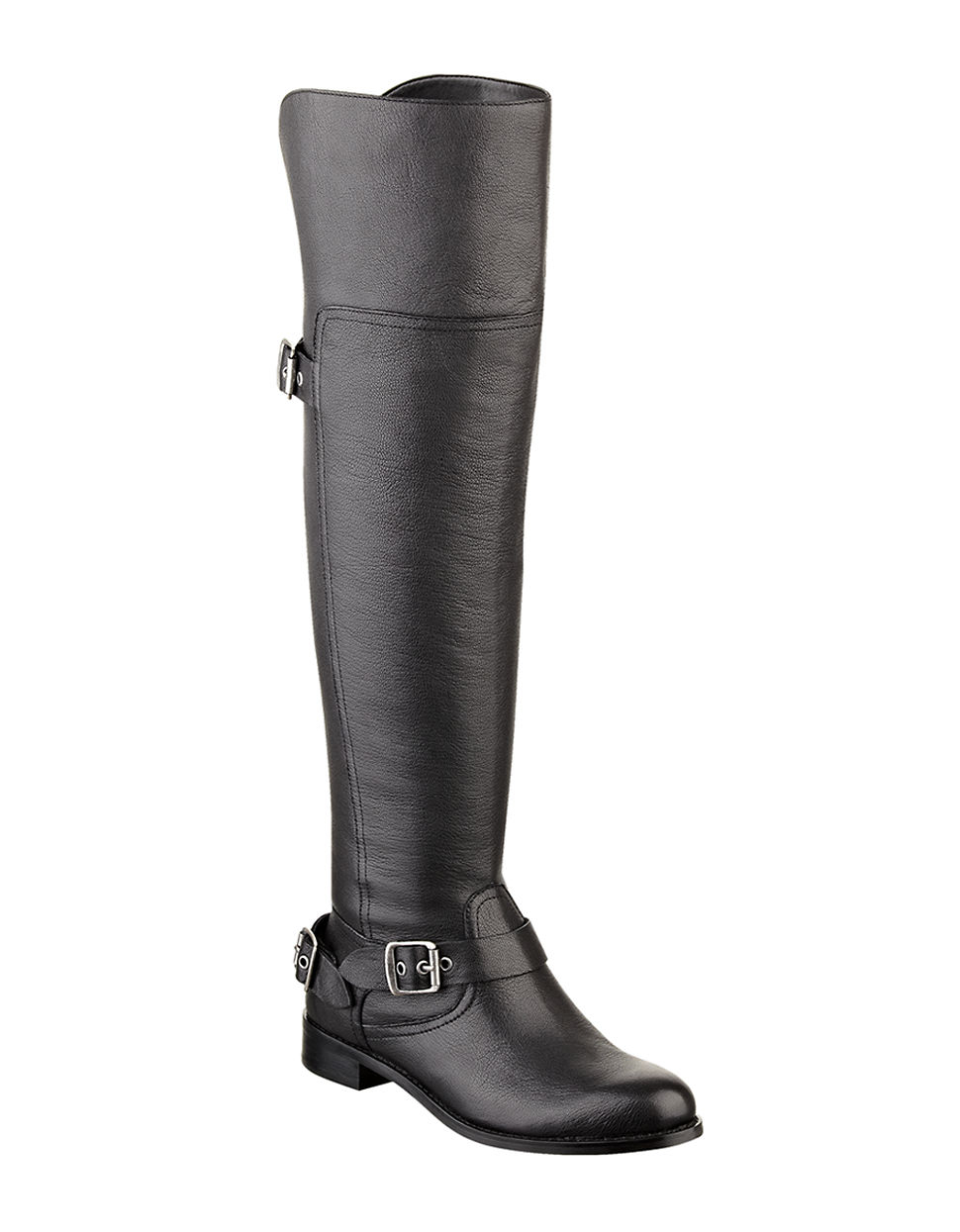 guess igal leather overtheknee boots in black lyst