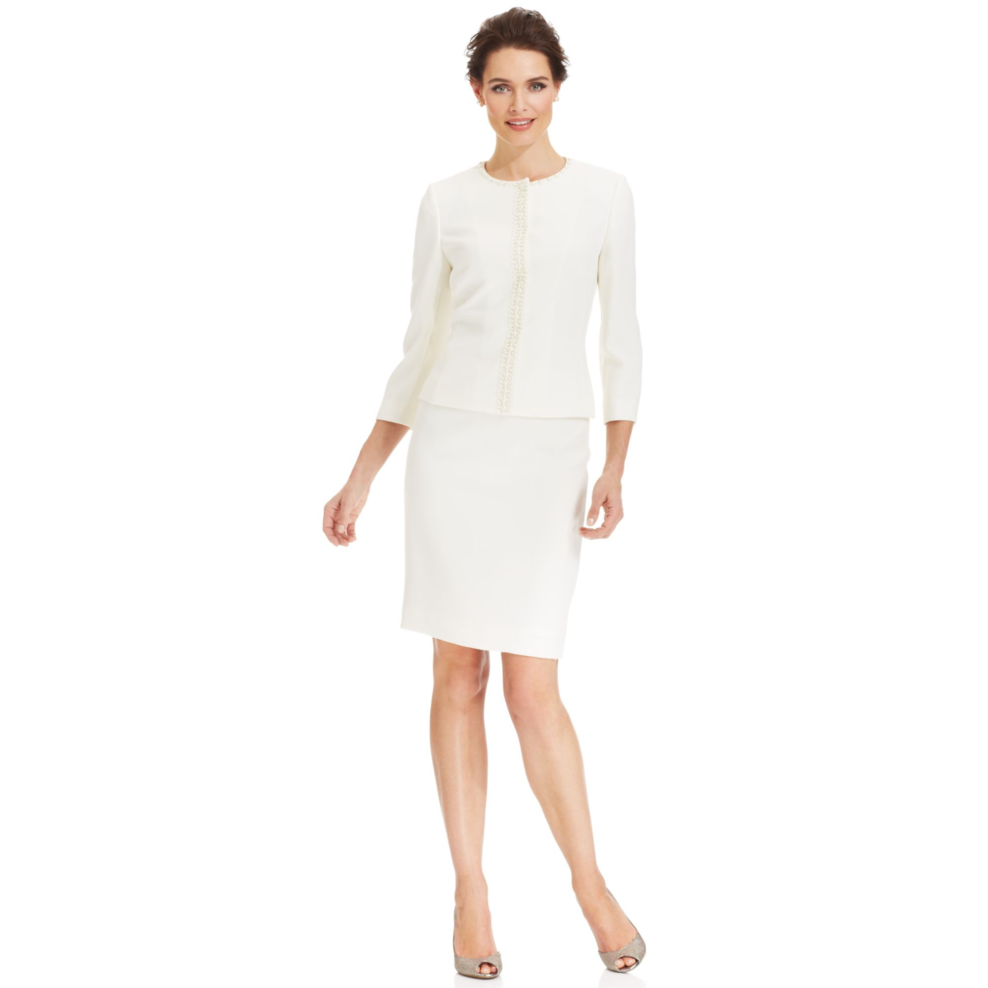 9f7a23721bed ... Tahari Suits For Women: Tahari By Asl Collarless Beaded Skirt Suit In  White