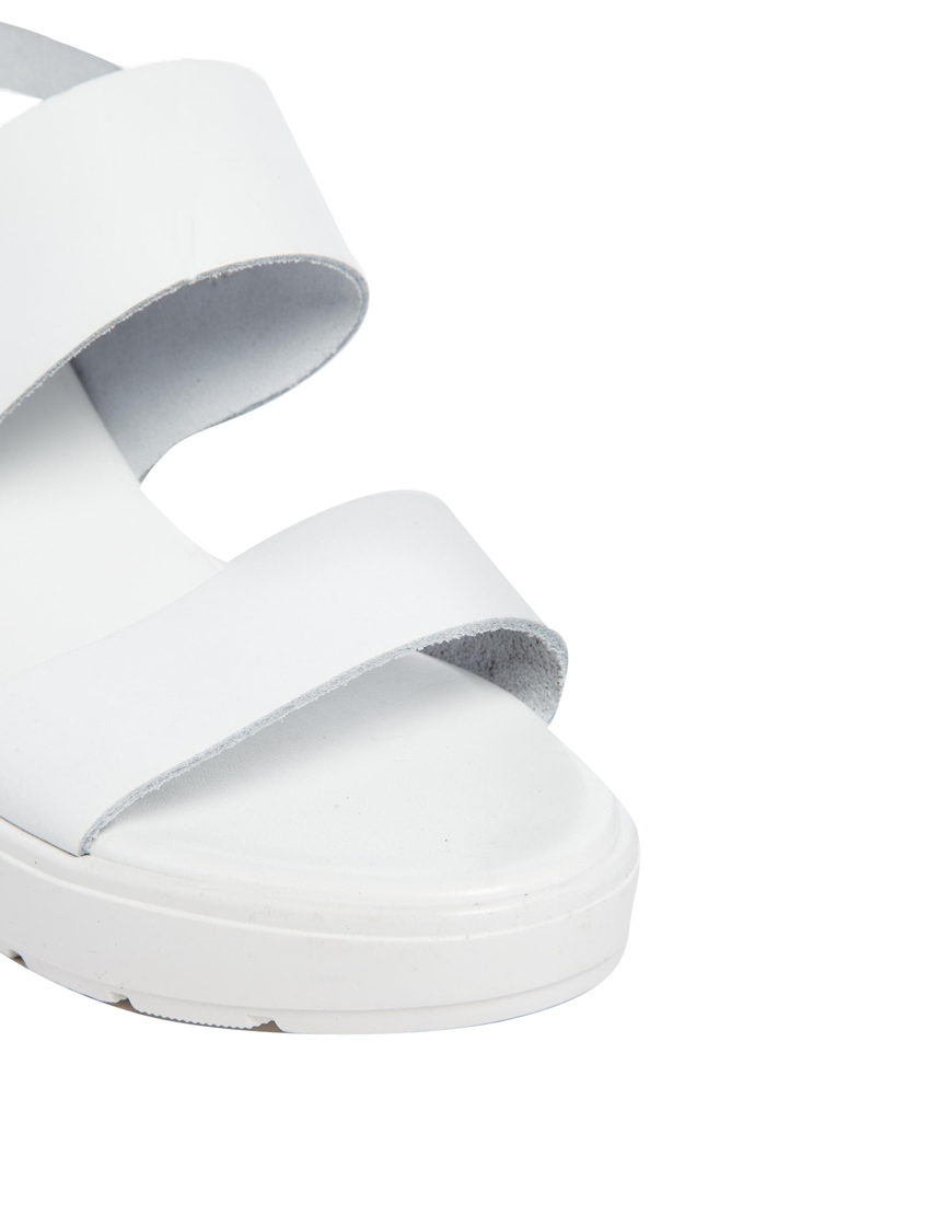 cee63fc8a90 Lyst - ASOS Hat Trick Leather Heeled Sandals in White