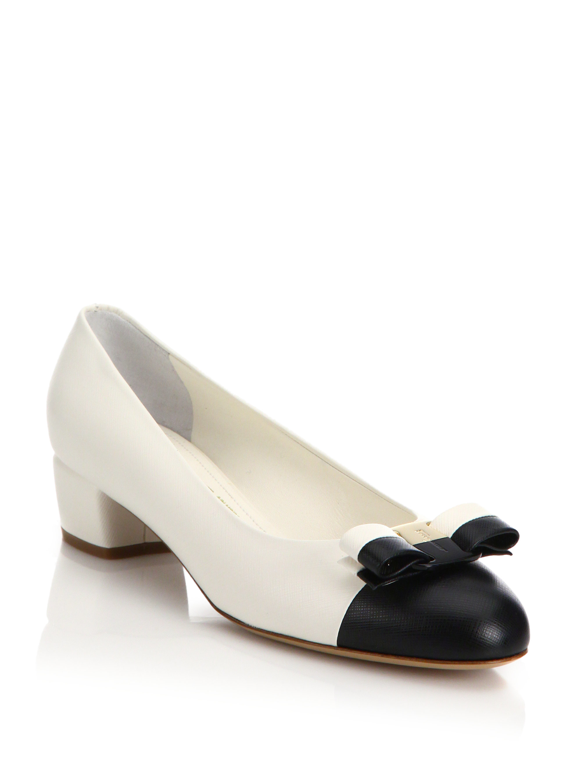 c4c2fd2f6d1 Lyst - Ferragamo Vara Saffiano Leather Cap-toe Pumps in White
