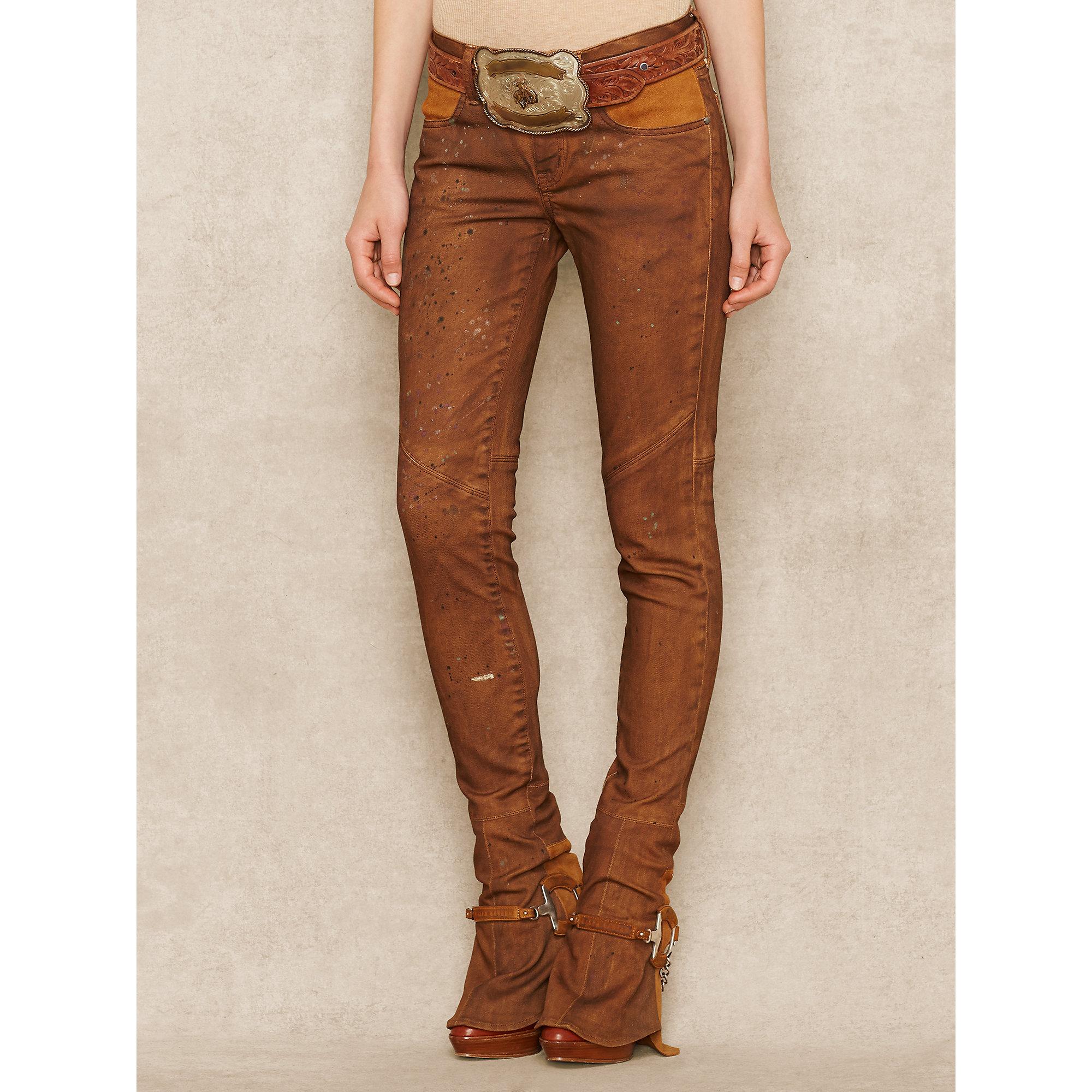 Ralph Lauren Skinny Bootcut Stirrup Jean In Brown Lyst