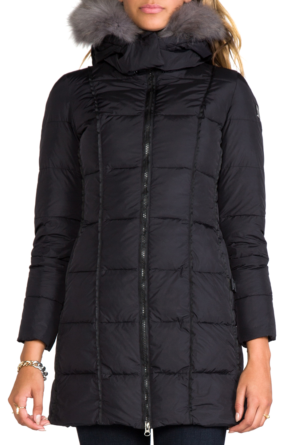 82074c3369f0a Add Down Coat with Hood and Fur in Black in Black - Lyst