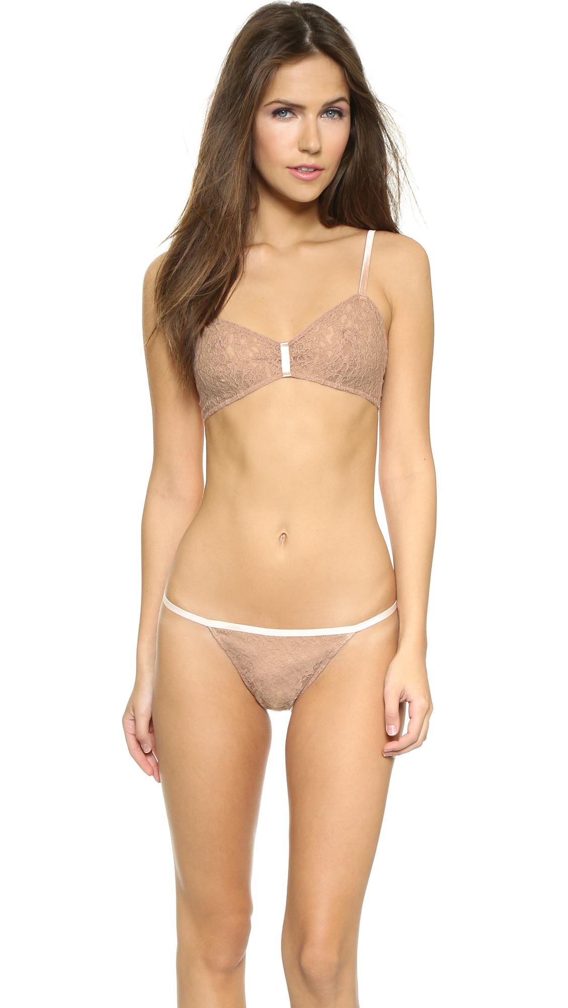 Lyst - Forever 21 Geo Flounce Bikini Top