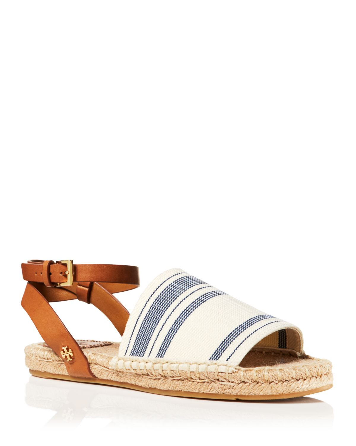 74f21c141 Lyst - Tory Burch Espadrille Flat Sandals - Striped Ankle Strap in White