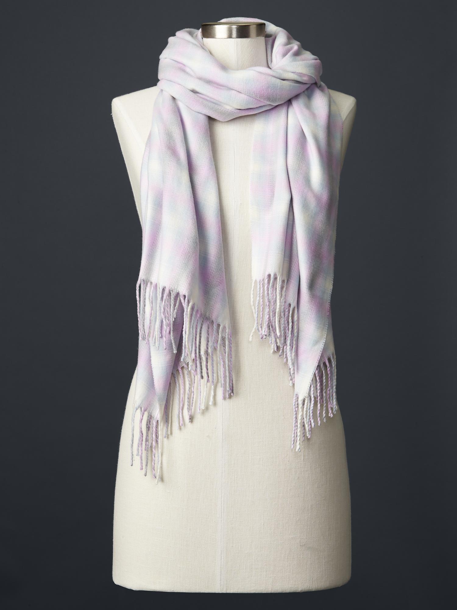 gap cozy plaid scarf in purple qauzy lilac lyst