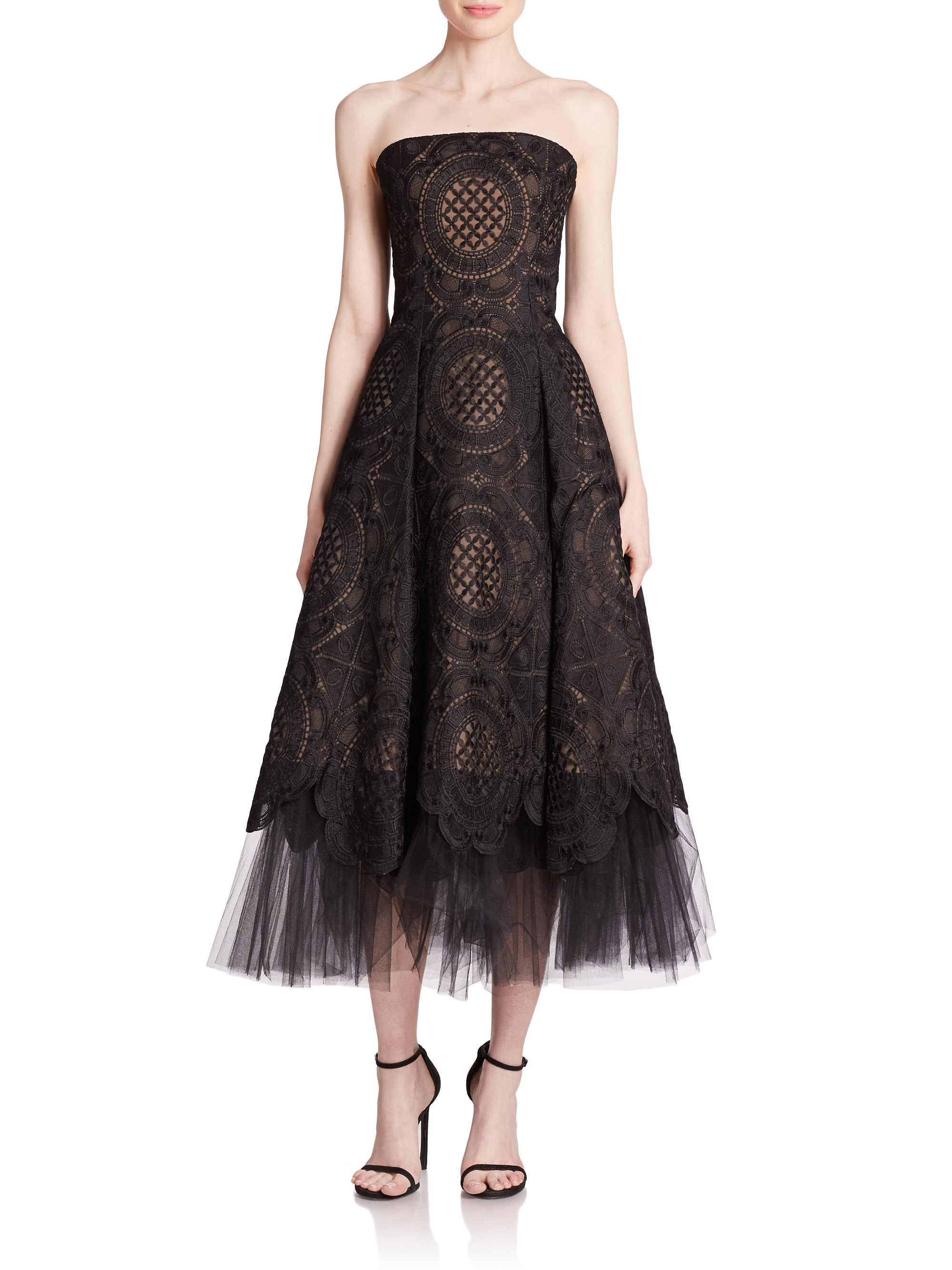 Lyst Notte By Marchesa Strapless Organza Lace Amp Tulle